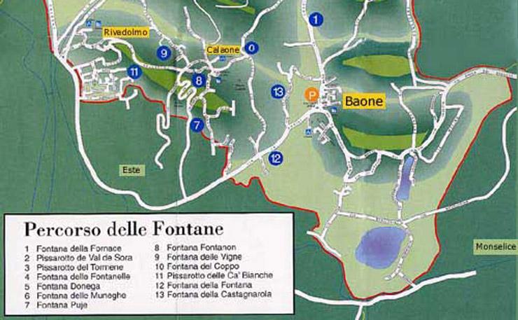 Percorso delle 13 Fontane dei Colli Euganei